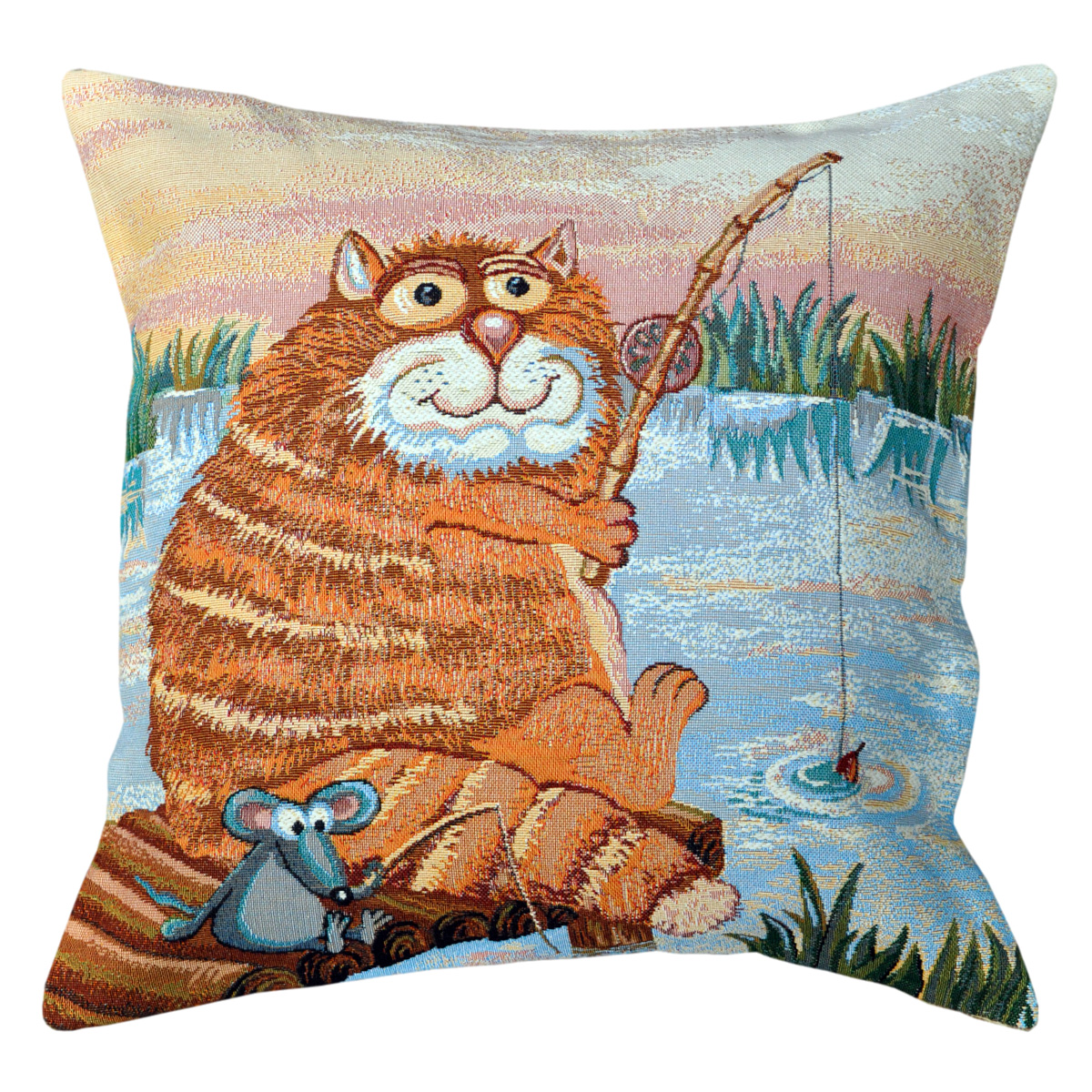 Fishing Tapestry Cushion - 50x50cm
