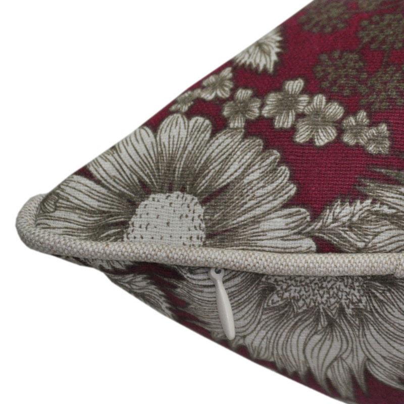 Burgundy Floral Cushion 45x45cm Hupper