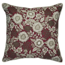 Burgundy Floral Cushion - 45x45cm