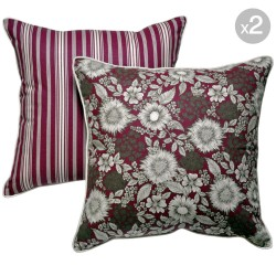 Burgundy Floral + Burgundy Stripes Cushions - 45x45cm