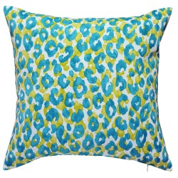 Snow Leopard Island Blue Outdoor Cushion - 45x45cm