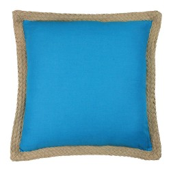 Jute Border Linen Blue Cushion - 50x50cm
