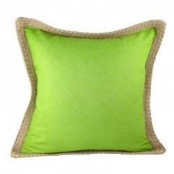 Jute Border Linen Green Cushion - 50x50cm