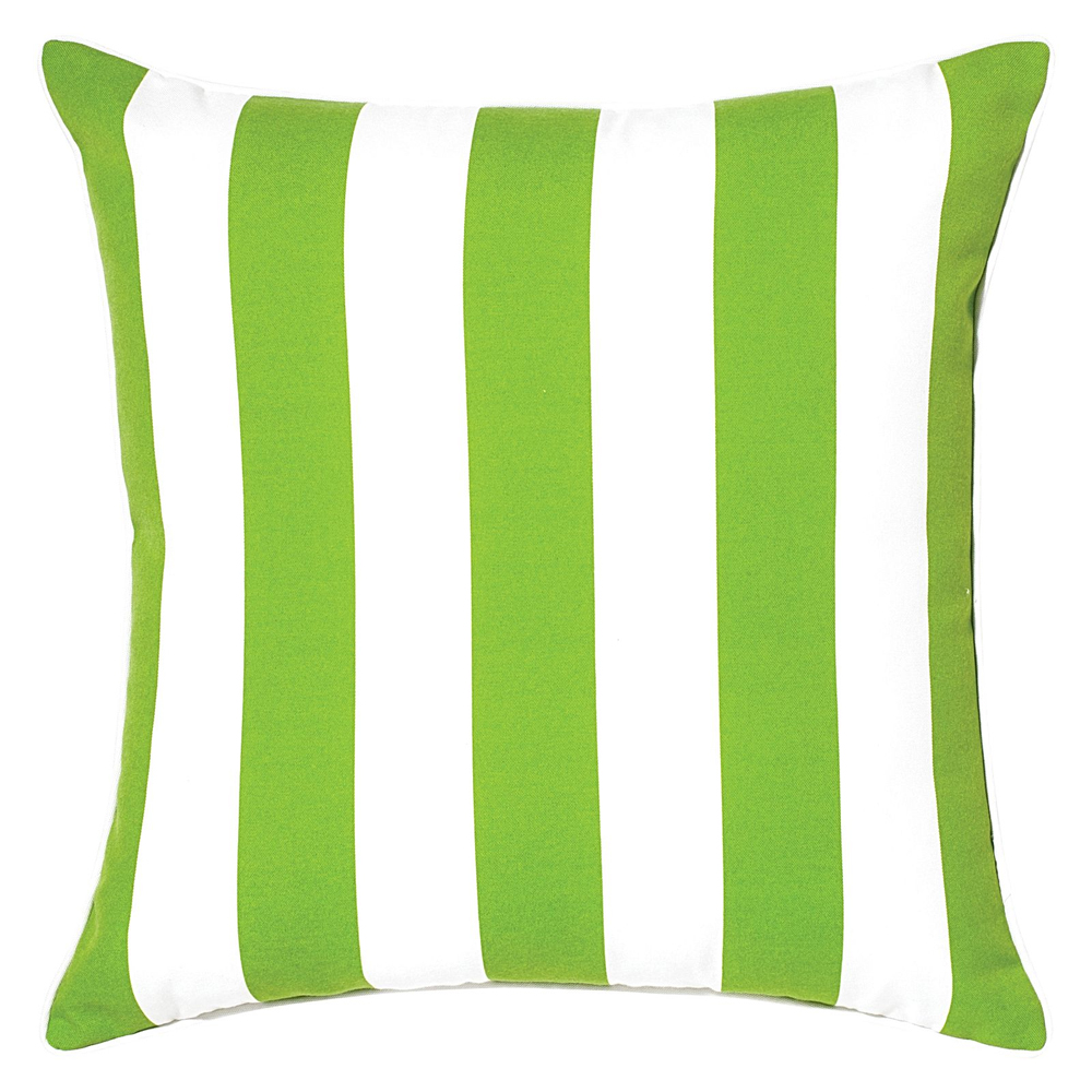 Green and white striped cushion