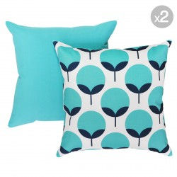 Caroline Oxford + Dyed-Solid Ocean Outdoor Cushions - 45x45cm