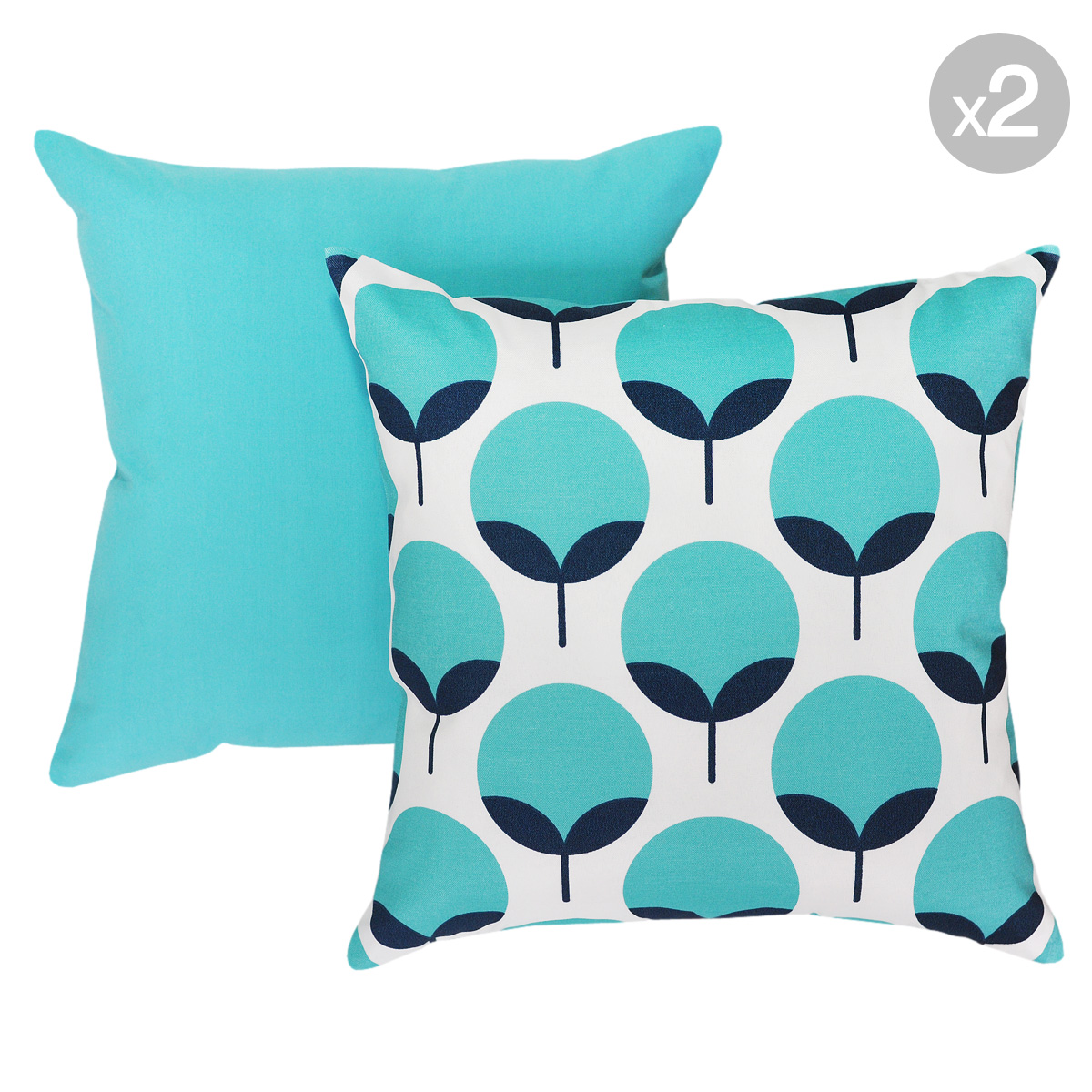 Caroline Oxford + Dyed-Solid Ocean Outdoor Cushions 45x45cm