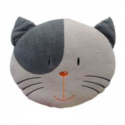 Grey and Black Cat Head Cushion 35cm