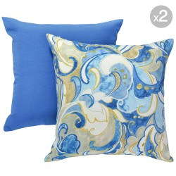 Fresco Solid Marine + Leena Atlantic Outdoor Cushions - 45x45cm
