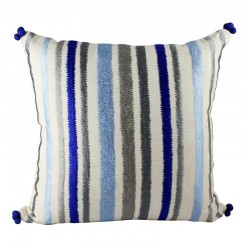 Miami Stripe Blue Cushion - 45x45cm