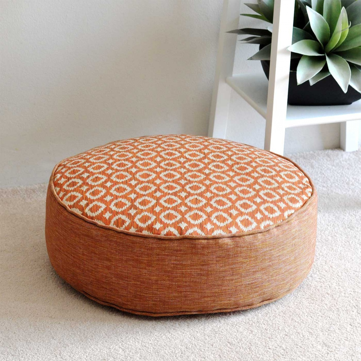 Ayana Tangerine Round Floor Cushion - 16cm | Hupper