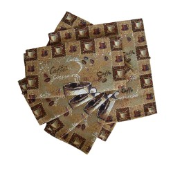 Coffee Cup Tapestry Placemats Set of 6 - 27x27cm