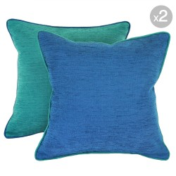 Bendigo Cushions. Envy with Azure Piping + Azure with Envy Piping 45x45cm