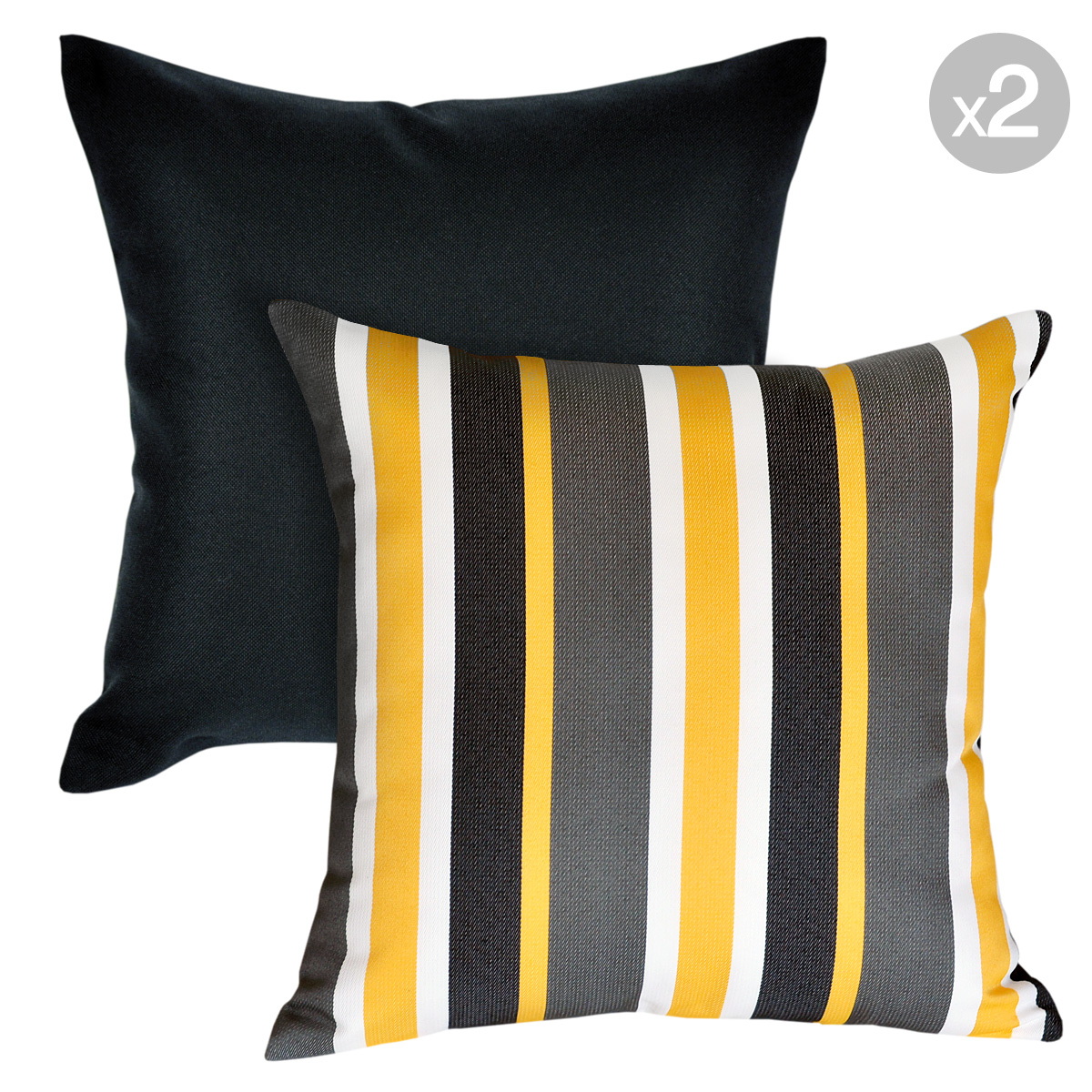 Details About Set Of 2 Kona Ash Mindill Sunshine Yellow Outdoor Cushion Covers 45x45cm