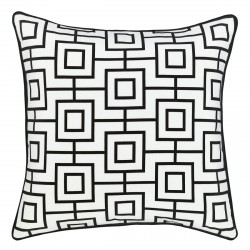 Bondi Ash Reverse Outdoor Cushion with Black Piping - 45x45cm