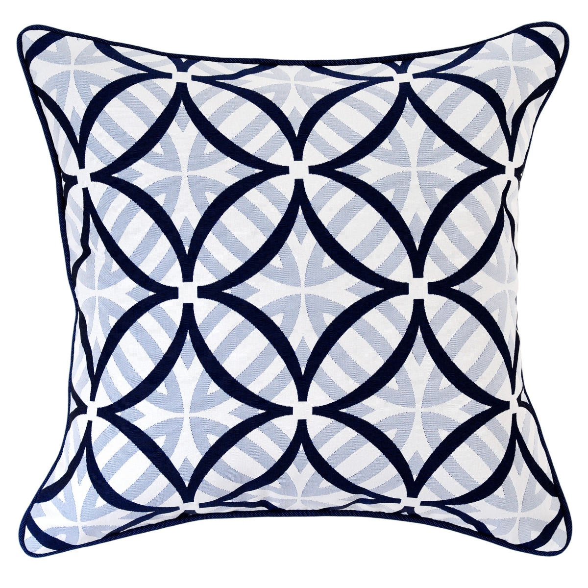 Coolum Marine Outdoor Cushion with Navy Piping - 45x45cm