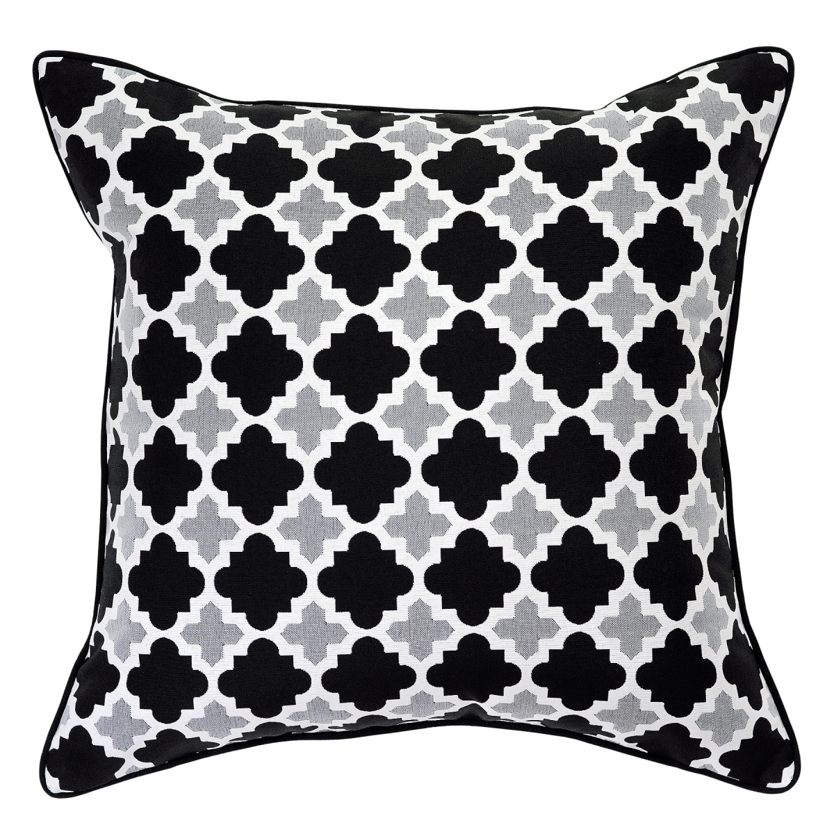 Bells Beach Ash Outdoor Cushion with Black Piping - 55x55cm