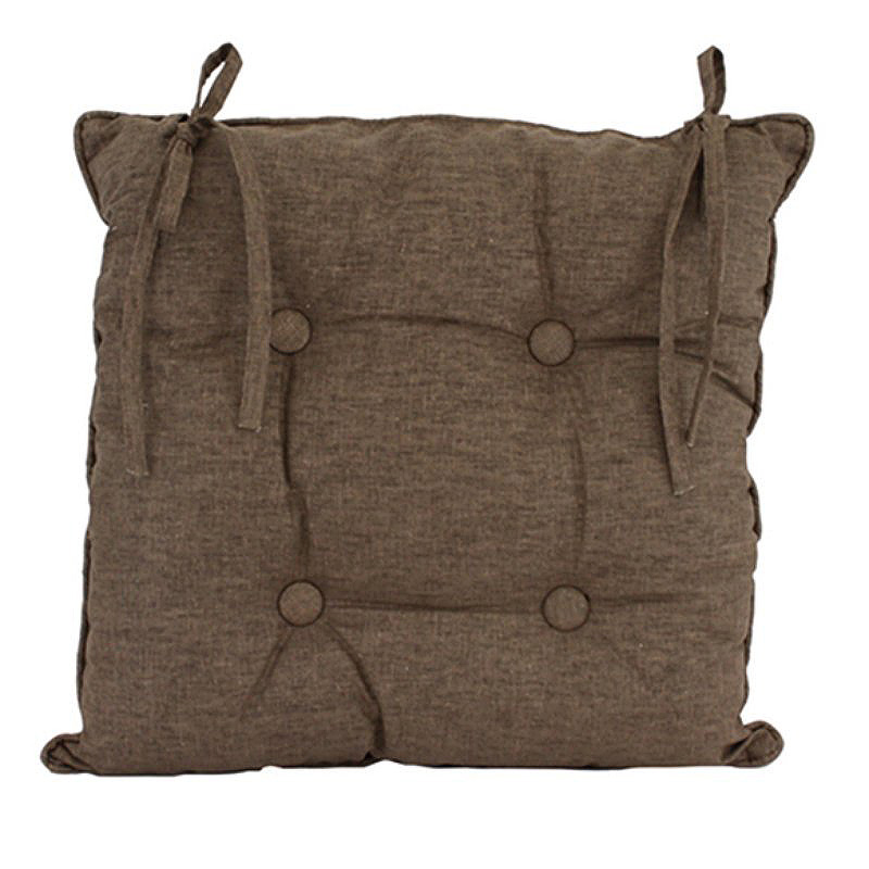 Linen Chocolate Chair Cushion 45x45cm