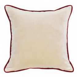 Mystere Butternut Velvet Cushion with Red Piping - 45x45cm