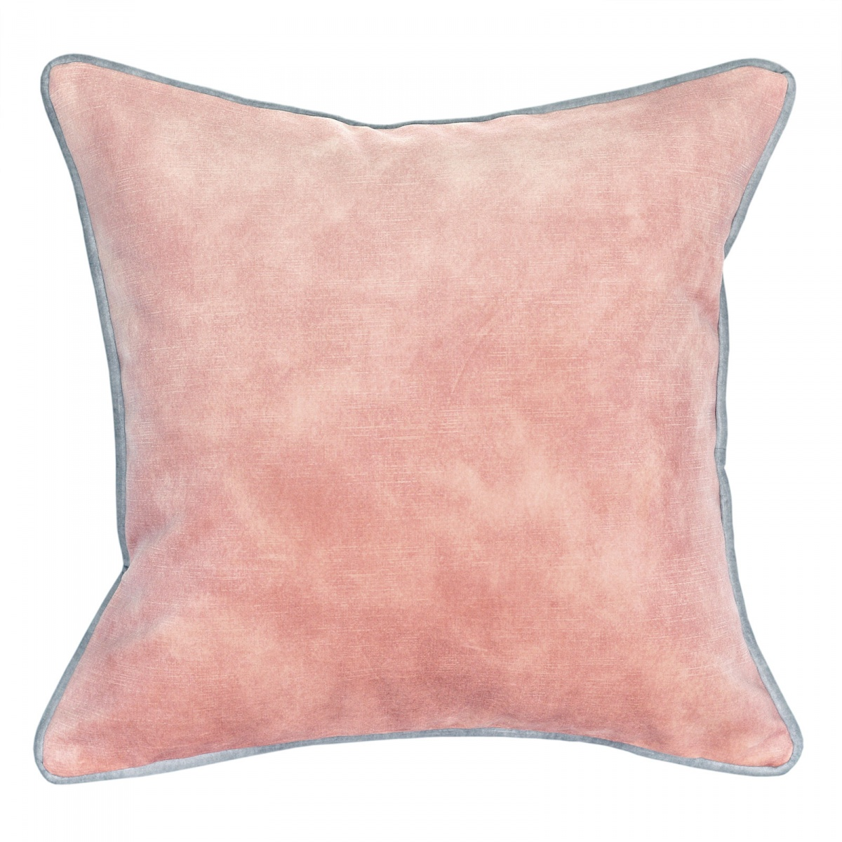 Lovely Blossom Velvet Cushion with Grey Piping - 45x45cm