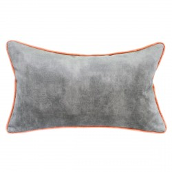 Lovely Cement Velvet Cushion with Blossom Piping - 30x50cm