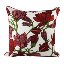 Burgundy Magnolia Cushion - 45x45cm