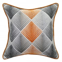 Aspire Mango/Charcoal Cushion with Piping Trim - 45x45cm