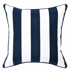 Mallacoota Marine Outdoor Cushion with Navy Piping - 50x50cm