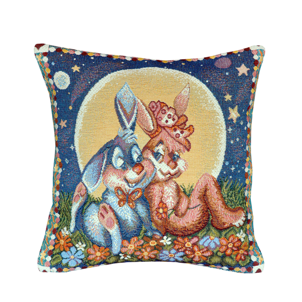 Bunny Couple Tapestry Cushion - 30x30cm