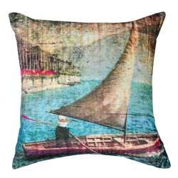 Boat Artwork Cushion - 45x45cm