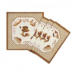 Coffee Grinder Tapestry Placemats Set of 6 - 32x32cm