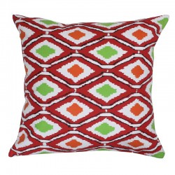Ikat Artwork Red Cushion - 45x45cm
