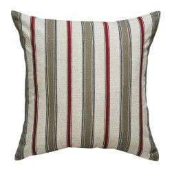 Terrace Stripe Khaki Red Cushion - 45x45cm