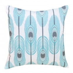 Blue Peacock Feathers Cushion - 45x45cm