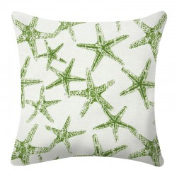 Sea Friends Slub Coastal Green Cushion - 45x45cm