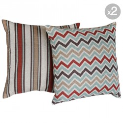 Zoom Zoom Village + Morgan Stripe Cushions 45x45cm