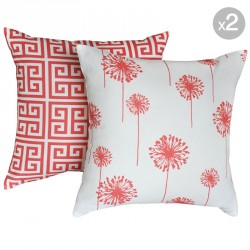 Towers Coral White + Dandelion White Coral Cushions 45x45cm
