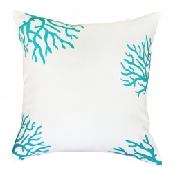 Coral White Turquoise Cushion - 45x45cm