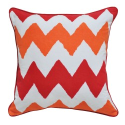Banded Red Cushion - 45x45cm