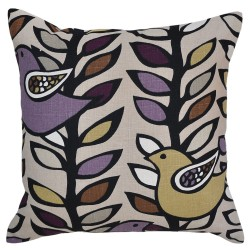 Lilac and Golden Birds Cushion - 45x45cm