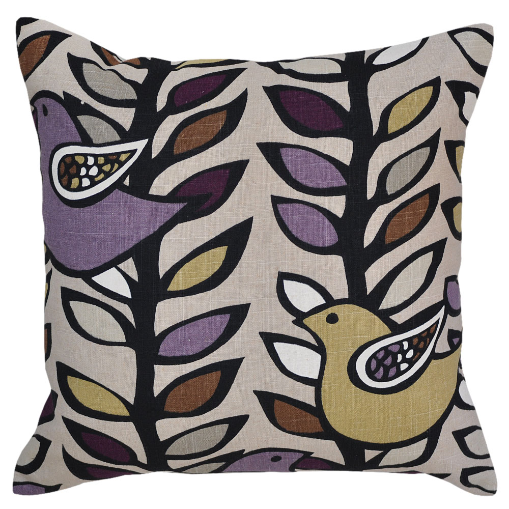 Lilac and Golden Birds Cushion 45x45cm