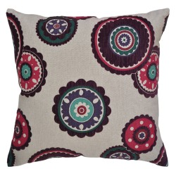 Rumi Flocked Plum Cushion 45x45cm