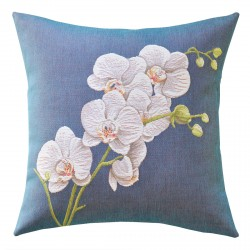 White Orchid Tapestry Cushion 48x48cm