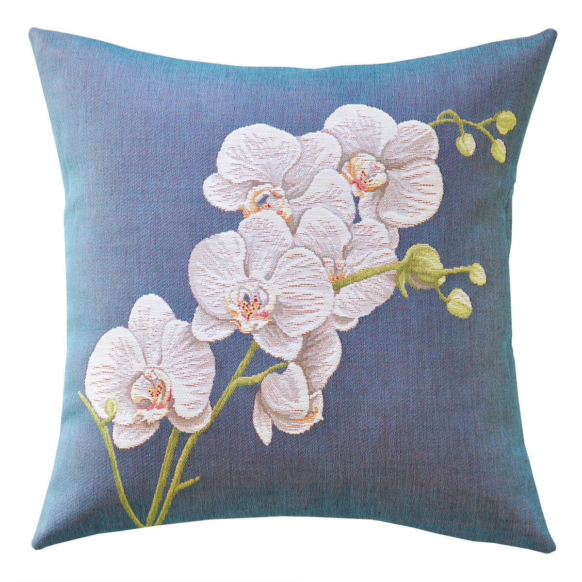 White Orchid Tapestry Cushion - 48x48cm
