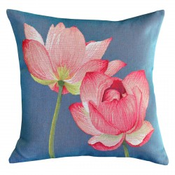Pink Lotus Tapestry Cushion - 48x48cm